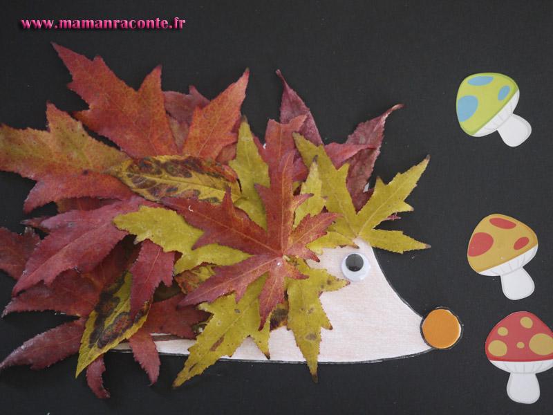 le h risson en feuilles d automne bricolage des tout petits les cahiers de lucie rose. Black Bedroom Furniture Sets. Home Design Ideas