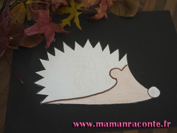 Hérisson en feuille d'automne - étape 6