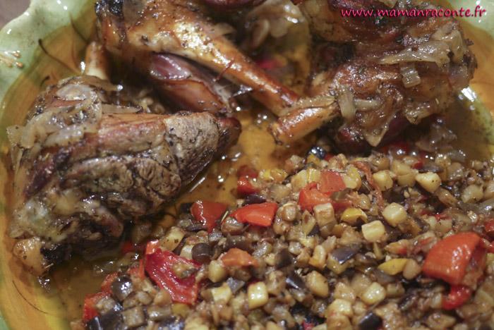 Souris d'agneau confites et ratatouille provençale