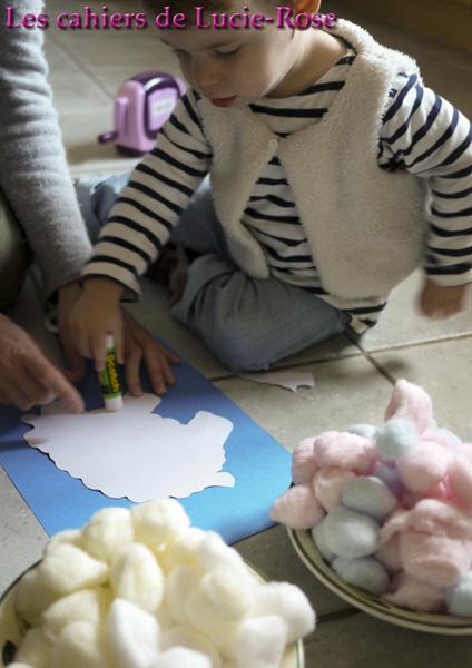 Mouton en boules de coton - les cahiers de Lucie-Rose #4