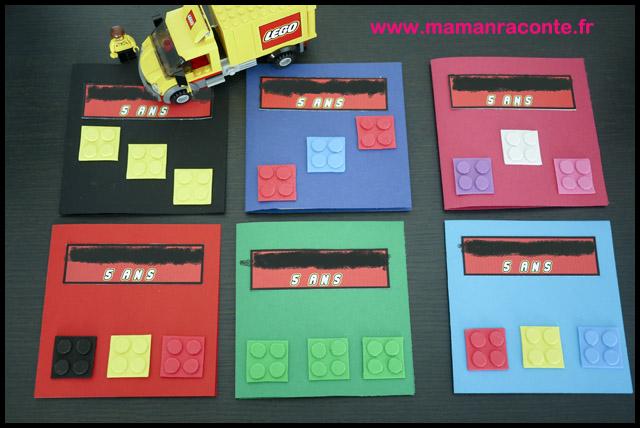 2. Carton d'anniversaire Lego pour ses 5 ans - les cahiers de Lucie-Rose