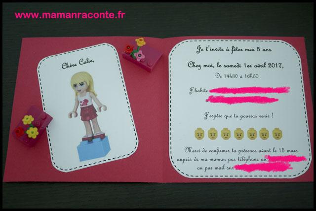 4. Carton d'anniversaire Lego pour ses 5 ans - les cahiers de Lucie-Rose
