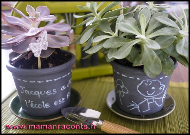 1. Pots de fleurs customisés pour la maîtresse (c) Les cahiers de Lucie-Rose