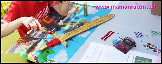 8. atelier épée enfant en bois à customiser - anniversaire dragons